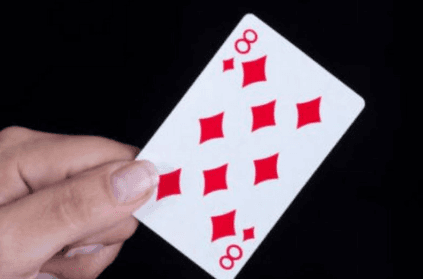 Can you spot the hidden number 8 in the eight of diamonds card