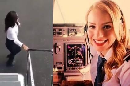 Female Pilot jump off plane to do the Kiki Challange