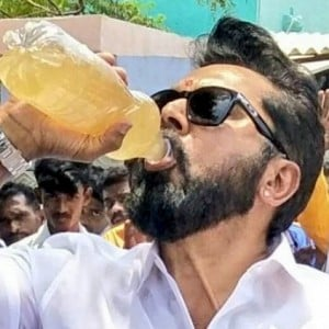 Sarathkumar drinks the dirty water - supports Sterlite protest!